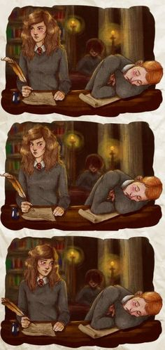 Check out this gorgeous fan art of Romione, being their adorable selves. Too cute.  Art by upthehillart.tumblr.com/