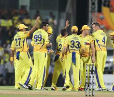 Chennai Super Kings Ravichandran Ashwin celebrates with teammates after taking the wicket of Pune Warrior player MN Samuels during the IPL Twenty20 cricket match between Chennai Super Kings and Pune Warriors at the M.A.Chidambaram Stadium in Chennai on April 19, 2012.