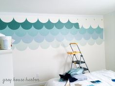 ombre scallop wall { a tutorial } Kids Wall Decor, Home Wall Decor, Unique Home Decor, Bedroom Decor, Bedroom Ideas, Mermaid Bedroom, Mermaid Nursery, Girl Nursery, Little Girl Rooms