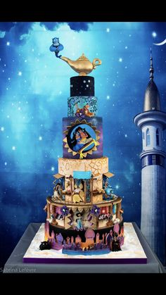 Aladdin luxury cake - cake by Cindy Sauvage Jasmine Birthday Cake, Aladdin Birthday Party, Birthday Cake Disney, Disney Desserts, Cute Desserts, Bolo Tumblr, Jasmin Party, Aladdin Cake, Disney Themed Cakes