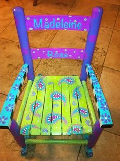 Hand Painted Children's Furniture. Hand Painted Rocking Chair. Madeleine Rose