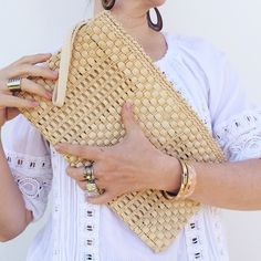Vintage oversize woven clutch Vintage oversize clutch made from soft woven material and lined with cotton. Top zips shit with pull, and inside has a pocket. Vintage Bags Clutches & Wristlets