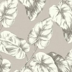 Palm Leaf Wallpaper in Grey with a Vinyl finish by Lutece
