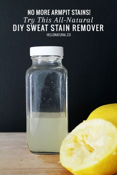 No More Armpit Stains! Try This All-Natural DIY Sweat Stain Remover | http://hellonatural.co/no-more-armpit-stains-try-this-all-natural-diy-sweat-stain-remover/