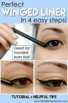 How To Apply Winged Liner the Quick & Easy Way -- Applying winged liner used to totally stress me out! Trying to make the lines straight, even, and not to mention matching, was more than I wanted to deal with on most mornings. Not anymore. I'm showing you the simple technique I discovered that makes winged liner a breeze! Click through to see the full tutorial. #wingedlinereasy
