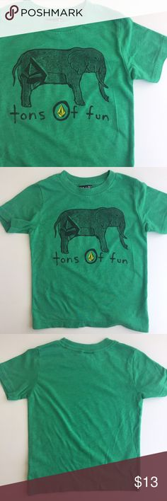 NOVEMBER SALE 🤑 Volcom Tons of Fun Tee Volcom Elephant T-Shirt by Volcom Size 3 T Green Gaphic Tee. Great Condition. Tags: Boy Girls     Offers Encouraged! Buy two or more items and get 15% off your purchase! 🛍✌️️ Inquire about custom bundles!  10% of sales are donated to Speak Up Bangladesh - Working to combat child marriage 🌏 Volcom Shirts & Tops Tees - Short Sleeve