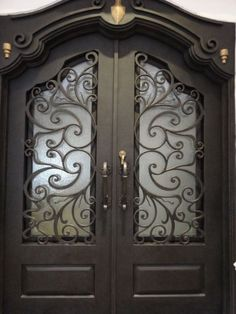 Details about Hand-Crafted 12 Gauge Wrought Iron Doors by Monarch Custom Doors x Per square foot. Exceptional Doors - Hand Crafted in 12 Gauge Wrought Iron by Monarch Custom Doors Th Iron Front Door, Wood Front Doors, Oak Doors, Solid Doors, Patio Doors, Faux Stone Panels, Double Entry Doors, Wrought Iron Doors, Front Door Design