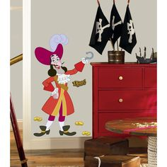 Bring the excitement of Jake and the Never Land Pirates to your room with this giant wall decal of Captain Hook. Standing over four feet tall, this wall decal is sure to please any fan.