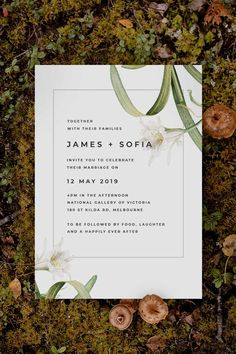 Modern Lily botanical Wedding Invitation by Sail and Swan Studio. The design features white lily flowers with green leaves and botanicals, set with modern fonts in a simple white and black design. Botanical Wedding Theme, Botanical Wedding Invitations, Wedding Flowers, White Lily Flower, White Lilies, Wedding Invitations Australia, Wedding Styles, Wedding Ideas, Luxe Wedding