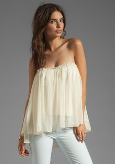 blaque label strapless ruffle top in ivory ♡