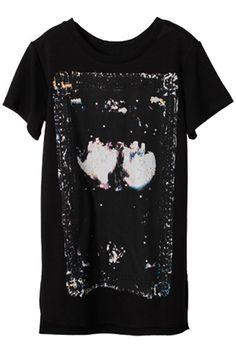 Printed Black T-shirt Dress