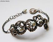 Ailla- wire wrapped bracelet with pearls, handmade, copper