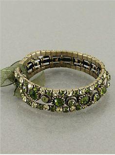 $7.99 Black Friday Sale #blackfriday #cybermonday Amazon.com: Designer Inspired Green Rhinestone Bracelet, 0.75 Inch, Brass Oxidized-dark Multi: Jewelry