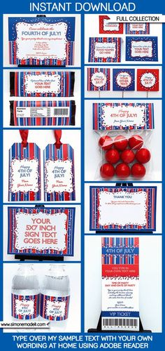 4th of July   Fourth of July Party Printables, Invitations & Decorations    Birthday Party   Editable Theme Templates   INSTANT DOWNLOAD $9.00 via SIMONEmadeit.com