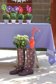 Festa Machê: Festa Arco Íris - galocha, guarda chuva
