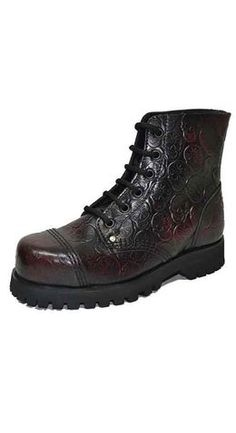 Steel Ground Black Leather Ladies Ankle Boots 9 Eye Flower Heel