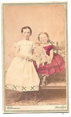 Civil War Era CDV Hand Colorized Two Young Girls with Doll Brooklyn NY   eBay