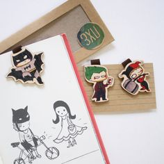 Cute Wooden Magnetic Bookmark Set of 3 / Superhero by 3XUdesign
