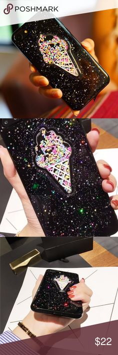 iPhone 3D Glitter Ice Cream Case Super cute flexible rubber case with moving glitters inside the ice cream  Available for  iPhone 6 iPhone 6s iPhone 6 Plus iPhone 6s Plus  iPhone 7 iPhone 7 Plus iPhone 8 iPhone 8 Plus Accessories Phone Cases
