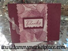 """Thanks"" Card stamped with Leaves in Maroon MKC038 – Tamm's Marketplace"