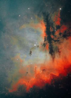 NGC 281: The Pacman Nebulae in Astrodon Narrowband Filters by Bob Hertel     NGC 281 is an H II region in the constellation of Cassiopeia and part of the Perseus Spiral Arm. It includes the open cluster IC 1590, the multiple star HD 5005, and several Bok globules. Colloquially, NGC 281 is also known as the Pacman Nebula for its resemblance to the video game character.