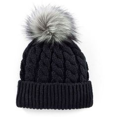 Madden-Girl Faux-Fur Pom-Pom Cable-Knit Beanie Hat via Polyvore featuring accessories, hats, pom pom hat, beanie caps, pom beanie, faux fur beanie y pom pom beanie hat