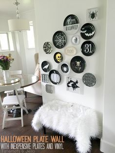15 Halloween Ideas- Halloween plate wall with free cuttable patterns