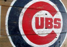 Vintage Chicago Cubs Baseball Reclaimed Wood Sign by VintageSignDesigns on Etsy https://www.etsy.com/listing/257250424/vintage-chicago-cubs-baseball-reclaimed