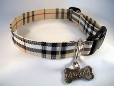Your pet fashionista will be the hit of the dog park wearing our Burberry dog collar. Our Burberry like fabric is used to create this designer collar that is hip and trendy, sure to please any diva or prince.  Our Burberry like fabric carries a black and white pattern mixed with tan and red. How strong is our Burberry dog collar?  It can withstand up to 225 pounds of pulling tension.   Our collars and leashes feature: Durable contoured quick release buckle.