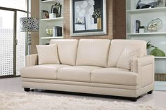 Meridian Furniture USA Ferrara Nailhead Sofa Upholstery: B Nailhead Sofa, Faux Leather Sofa, Contemporary Sofa, Furniture, Meridian Furniture, Sofa, Beige Sofa, Leather Sofa Set, Usa Furniture