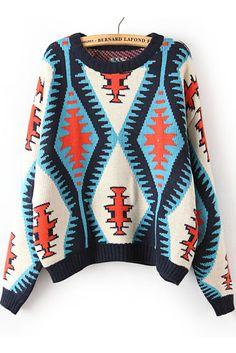 Rhombus Applique Sweater