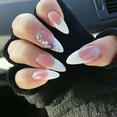 Round French tip with bling