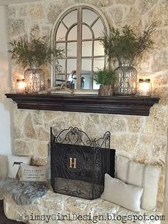 Instead of a fireplace mantle.how about this on the large wall over the couch? -whimsy girl: Our Home: {Nature Inspired Spring Mantle} Fireplace Mantle Decor, Farmhouse Fireplace, Mantle Decor, Family Room, House Interior, Home, Fireplace, New Homes, Fireplace Design