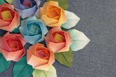 origami facile fleur bouquet de roses differents coloris