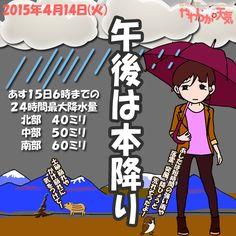 きょう(14日)の天気は「次第に本降り」。はじめ小雨の所も、次第に本降りに。午後は断続的に雨脚が強まる見込み。夜半過ぎにはいったん止みますが、あす朝にはふたたび雨に。日中の最高気温はきのうより7度ほど高く、飯田で16度の予想。