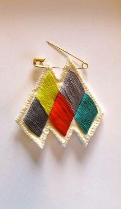 Chevron diamond badge brooch embroidered by AnAstridEndeavor, $17.00