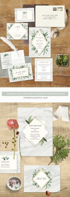 Marble Wedding Invitations Greenery Geometric Diamond GoldMarble Wedding Invitations Greenery Geometric Diamond Gold Marble Wedding Invitations Greenery Geometric Diamond Gold A beautiful greenery inspired wedding invitation featuring modern fonts paired with a geometric diamond inlay on a marble background. A gorgeous and elegant wedding invitation which will set the stage for your wedding day nuptials.