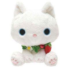 cute white Kutusita Nyanko cat with strawberries plush toy