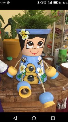 Flower Pot People, Flower Pots, Flowers, Painted Pots, Clay Pots, Topiary, Crafts, Painting, Gardens