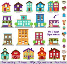 Our City, Town and Village Clipart set includes 29 PNG files with transparent backgrounds, 29 JPG files with white backgrounds and 1 Adobe Illustrator vector Art Clipart, House Clipart, House Quilts, House Drawing, Baby Kind, Creative Sketches, Flat Design, Kitsch, Printable Art