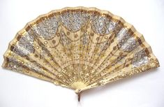 Duvelleroy Cream Silk Fan with Spangles and Sequins - Date: ca. 1900-1910 - MadAboutFans.com