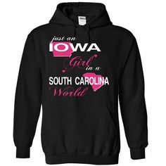 IOWA GIRL IN SOUTHCAROLINA - #college hoodie #sweater vest. WANT THIS => https://www.sunfrog.com/Valentines/IOWA-GIRL-IN-SOUTHCAROLINA-Black-Hoodie.html?68278