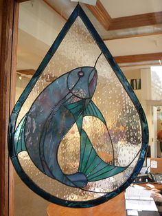 salmon come home stained glass ...
