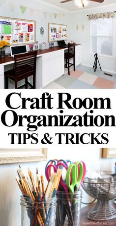 CRAFT ROOM ORGANIZATION: take a peek inside the drawer and cabinets to see how her craft room stays organized!