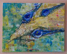 Paví+exprese+Originál,+malovaný+akrylovými+barvami+na+plátno.+40x50cm