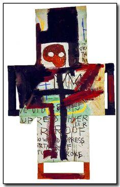 Jean-Michel Basquiat « Crisis X », 1982. Crucifix en lattes de bois (palette) partiellement recouvertes d'une toile peinte à l'huile, acrylique et crayon
