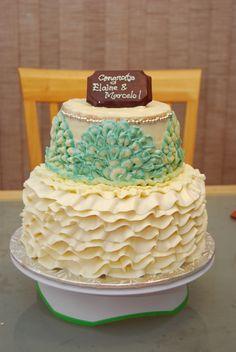Ruffled Cake - inspired by bride's dress Ruffled Cake, Vanilla Cake, Sweets, Inspired, Desserts, Dress, Food, Tailgate Desserts, Deserts
