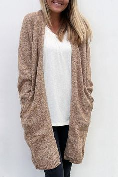 7358668727 Loose Solid Color Pockets Open Long Cardigan