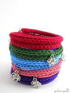 Spool knit charm bracelets--I want to try this!
