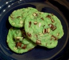 I got this recipe in my e-mail from a Betty Crocker mailing, and it was a 2010 prize-winning recipe. The cookie dough is tinted green, so they are great for St. Patricks Day or a holiday tray.